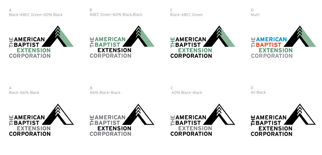 Branding by Ellen Shapiro for American Baptist Extension Corporation includes logo palette for various uses