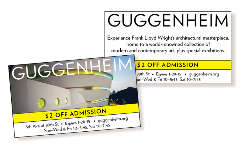 Ads for the Guggenheim Museum designed by Ellen Shapiro of Visual Language LLC