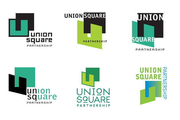 Union Square Partnership logo explorations designed by Ellen Shapiro of Visual Language LLC