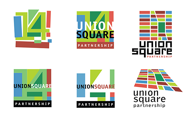 Union Square Partnership logo explorations designed by Ellen Shapiro