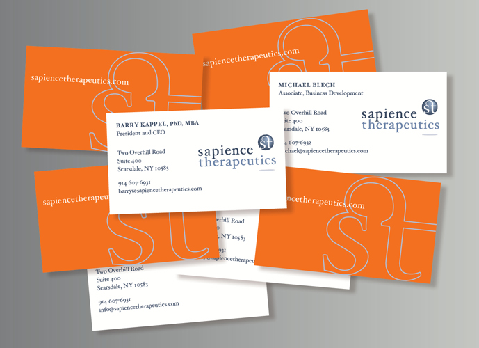 Sapience Therapeutics Identity by graphic designer Ellen Shapiro of Visual Language LLC